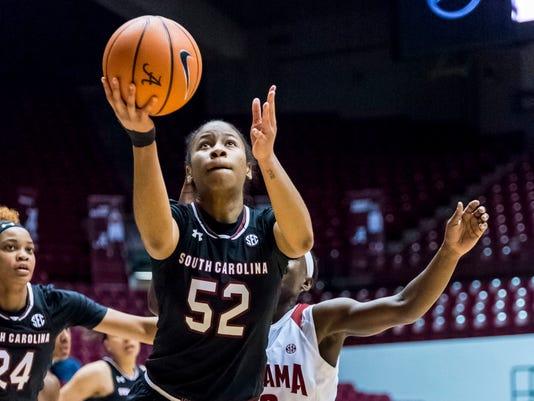 South Carolina guard Tyasha Harris (52) gets free for a shot against Alabama during an NCAA college basketball game Thursday, Feb. 8, 2018, at Coleman Coliseum in Tuscaloosa, Ala. (Vasha Hunt/AL.com via AP)