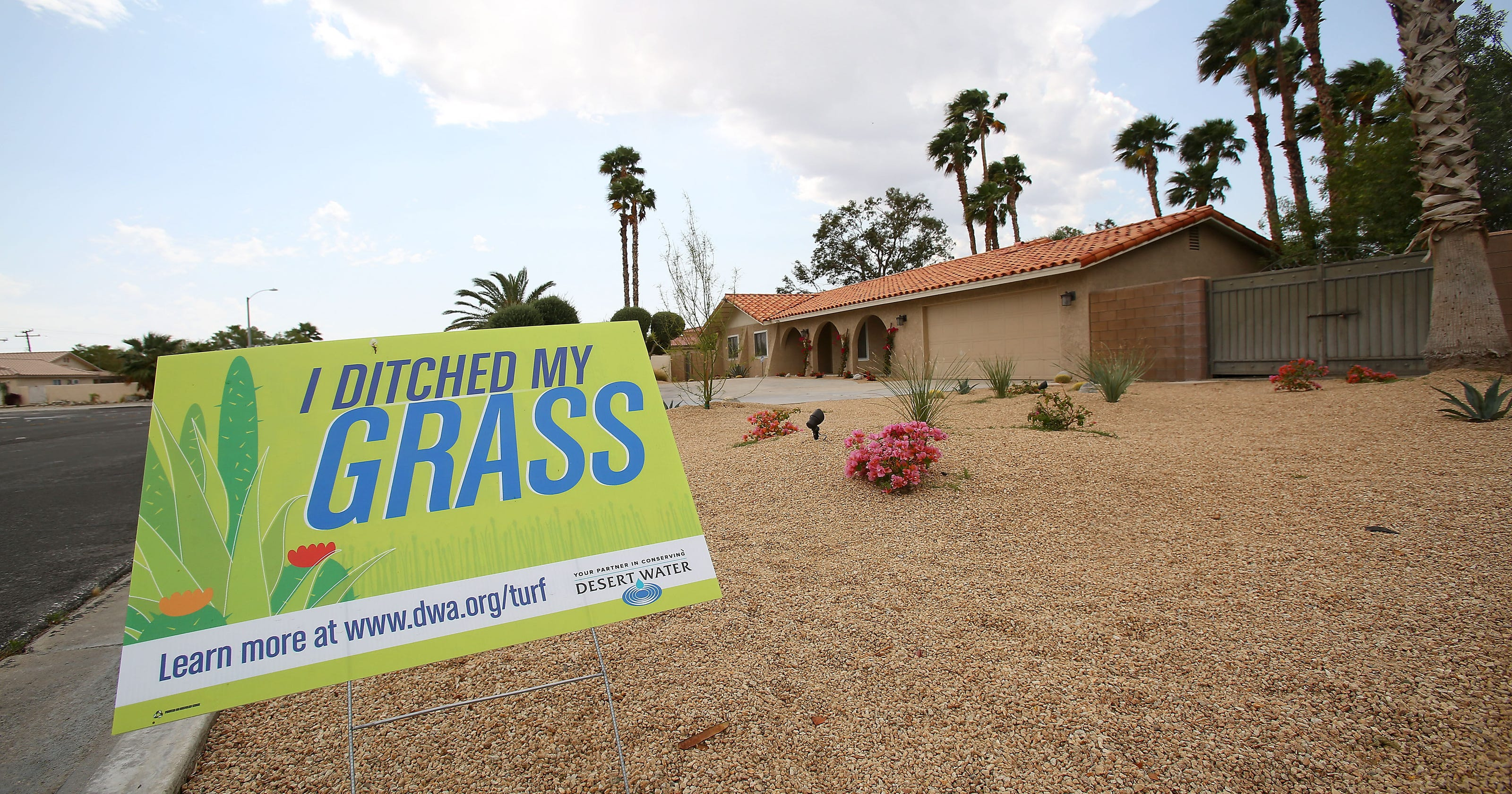 Desert slowly ditches grass, goes brown on landscaping