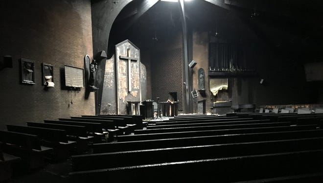 The damage at a North Haledon chapel following a fire at Mary Help of Christians Academy in North Haledon May 18, 2018.