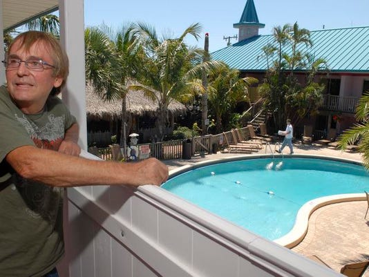 The Fawlty Towers Resort in Cocoa Beach is going clothing optional on May 1st. Paul Hodge, owner, above the pool