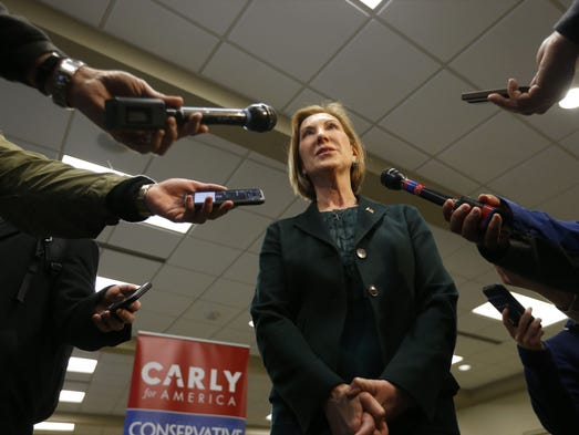 Republican presidential candidate Carly Fiorina  takes