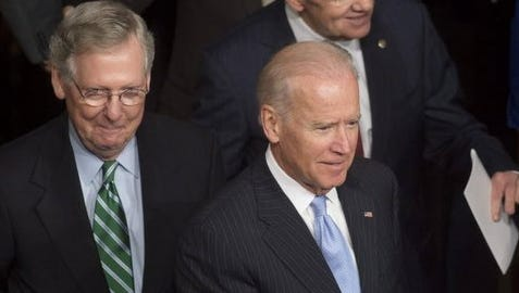Sen. Mitch McConnell of Kentucky, left, and Vice President Biden may negotiate key pieces of legislation more often after Republicans take charge of the Senate next year and McConnell becomes majority leader.