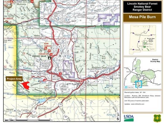 Mesa Pile Burn map