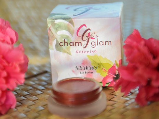 ChamGlam Botanika Hibiskiss'd lip butter displayed