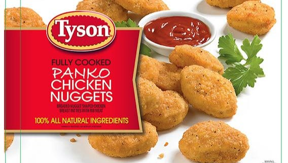 Tyson Foods Inc. is recalling approximately 132,520 pounds of fully cooked chicken nugget products that may be contaminated with hard plastic.