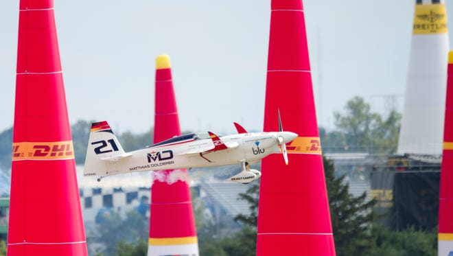 Matthias Dolderer, of Matthias Dolderer Racing, races through the final set of pylons on the course. Dolderer won the event, clinching the season championship. The inaugural Red Bull Air Race was held Sunday, Oct. 2, 2016, at the Indianapolis Motor Speedway.