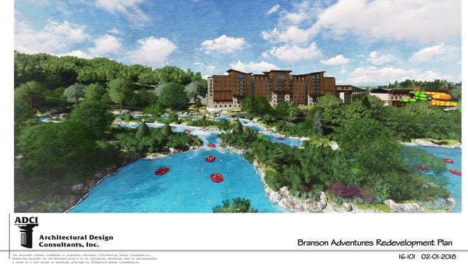 A Feb. 2018 rendering of Branson Adventures, a proposed 302-acre water park and resort at the west end of the Highway 76 strip that would cost more than $400 million, partly subsidized by tax-increment financing.