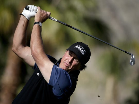 Chris Carlson/AP Phil Mickelson hits from the tee on the 11th hole at the Humana Challenge on Friday. Phil Mickelson hits form the tee on the 11th hole during the second round of the Humana Challenge golf tournament on the Nicklaus Private course at PGA West, Friday, Jan. 23, 2015, in La Quinta, Calif. (AP Photo/Chris Carlson)