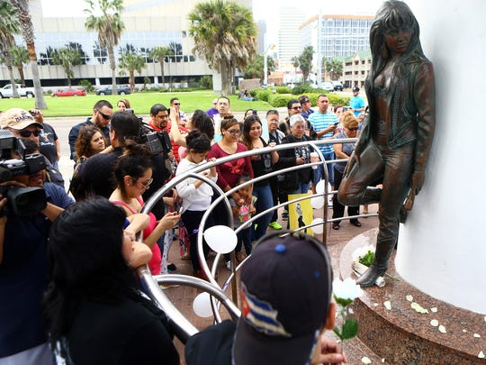 Fans gathered in front of the Selena Memorial Statue