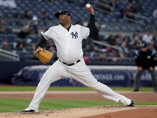 New York Yankees pitcher CC Sabathia delivers against