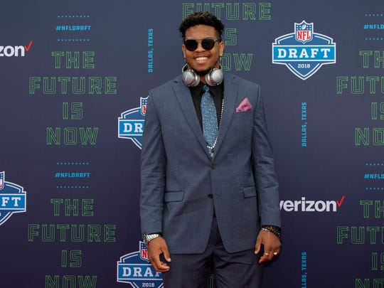 Texas-San Antonio defensive end Marcus Davenport arrives on the red carpet before the 2018 NFL Draft at AT&T Stadium.