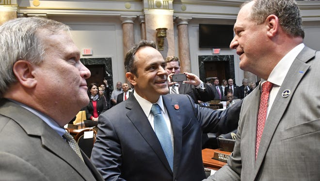 AP file  Gov. Matt Bevin, center, and Senate President Robert Stivers, left, congratulate Jeff Hoover, voted speaker of the House in January. Kentucky Gov. Matt Bevin, center, and Kentucky Senate President Robert Stivers, left, congratulate Jeff Hoover following his being voted in as Speaker of the House, Tuesday, Jan. 3, 2017, in Frankfort, Ky. Republicans opened a new era in complete control of the Kentucky General Assembly on Tuesday with the Senate convening and the GOP formally taking charge of the House of Representatives for the first time in nearly 100 years. (AP Photo/Timothy D. Easley)