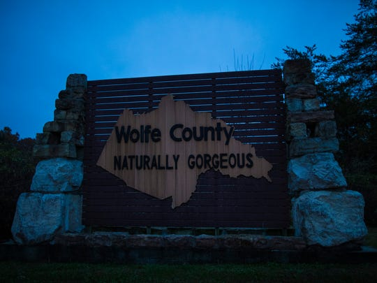 A sign along the interstate for Wolfe County, Kentucky