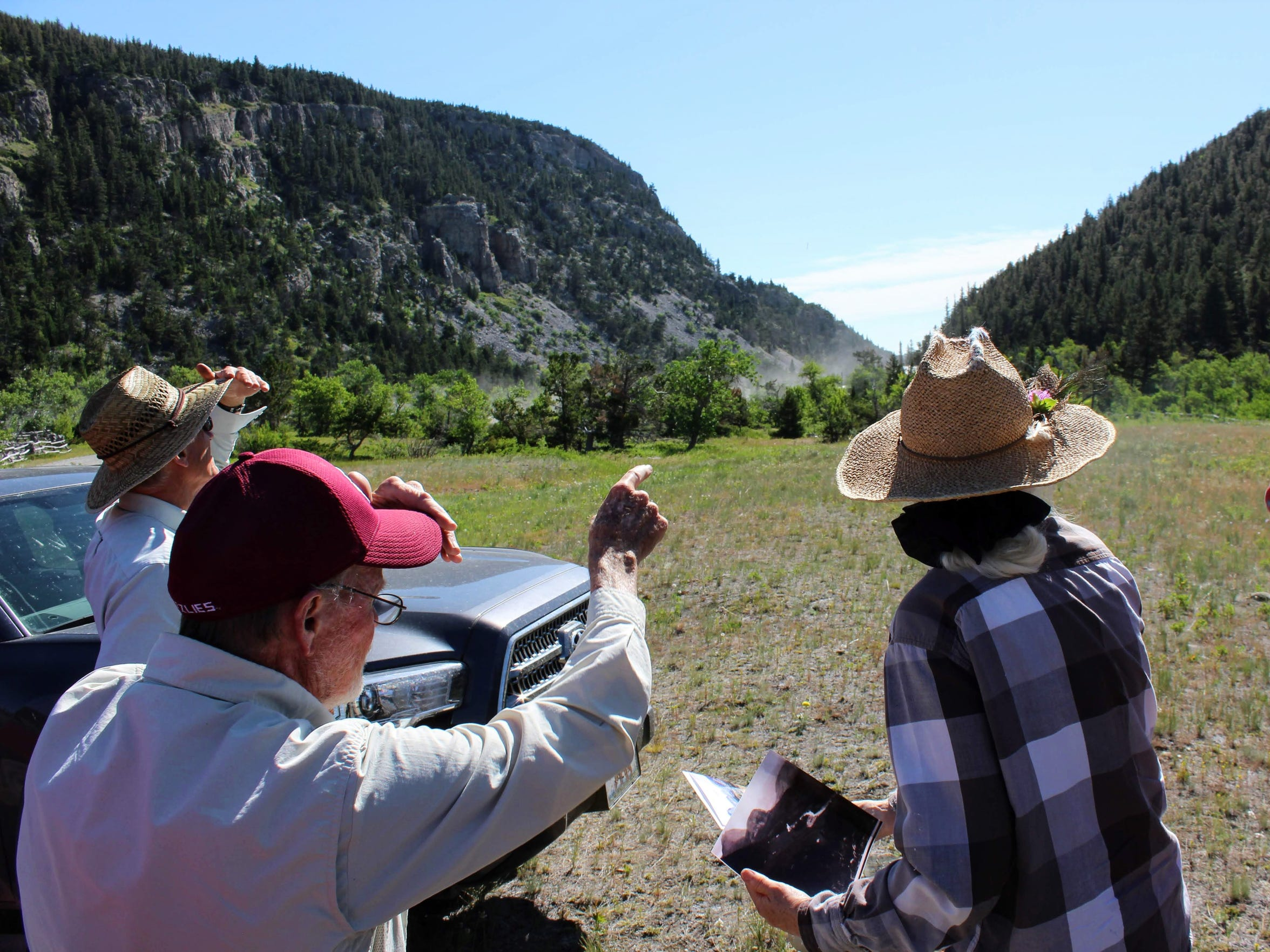 Dave Shea, Old Trail Museum board member and naturalist, points out the location of an old Metis settlement near the Teton Canyon Cemetery. The Metis people originated when the Hudson Bay Company intermarried with Cree Assiniboine women.