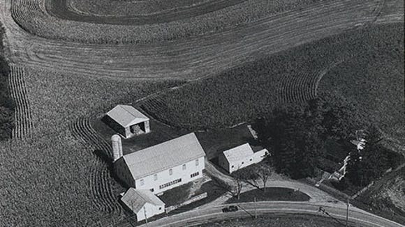 "Aerial view of the Wyndridge farm from ""Echoes of the Health Century,"" a memoir by Philip A. Hoover."