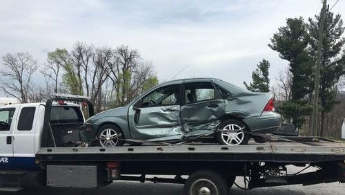 Pictured is the car of Mataline K. Carroll, an 88-year-old Waynesboro woman who died Monday night.