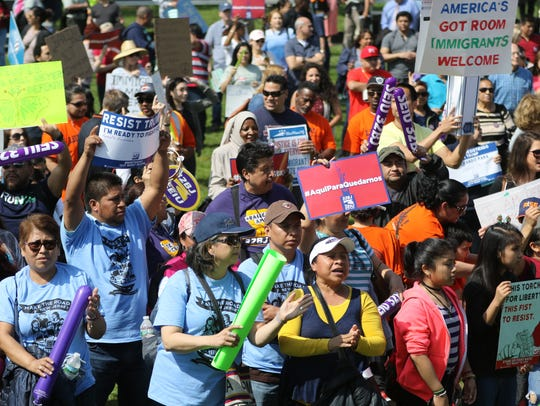 Hundreds attended the May Day rally at Liberty State