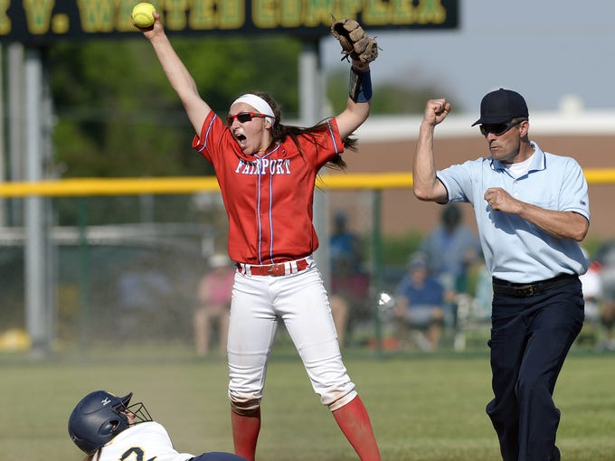 Fairport's Megan Palmer, top, celebrates after recording