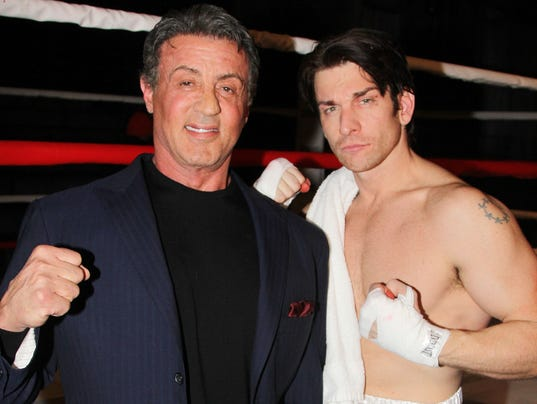Sylvester Stallone and Andy Karl photo by Bruce Glikas, Broadway.com