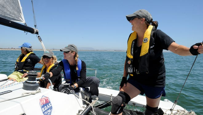 Johanna Gabbard, 57, (left to right), Michelle Boroski, 59, captain, Stephanie York, 50,  and Stephanie Maheu, 50, sail around Ventura Harbor. Boroski, the captain of the Sistership, and her crew hope to complete the 750-mile Race to Alaska in seven days. Boroski and Gabbard were part of the first all-female team to complete the race last year. The race is all wind and human powered. No motors are allowed.