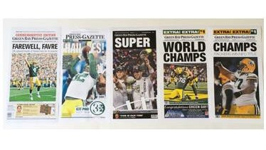 Front page reproductions of Packer highlights
