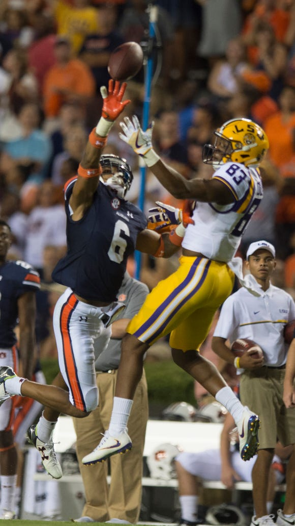 Auburn defensive back Carlton Davis (6) tips the ball away from LSU wide receiver Travin Dural (83) during NCAA football game between Auburn and LSU Saturday, Sept. 24, 2016, at Jordan Hare Stadium in Auburn, Ala.