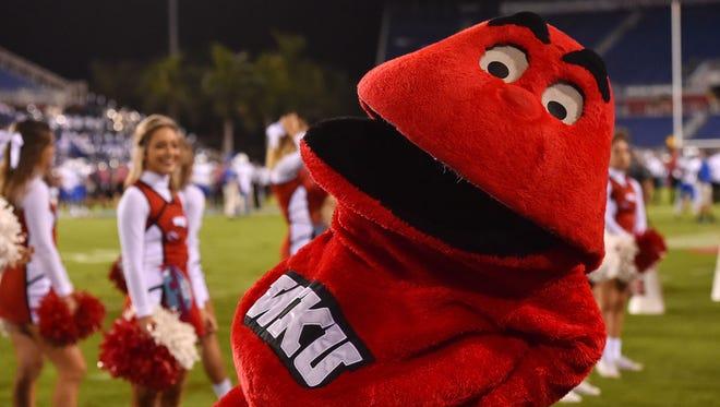 WKU mascot Big Red at a 2016 football game.