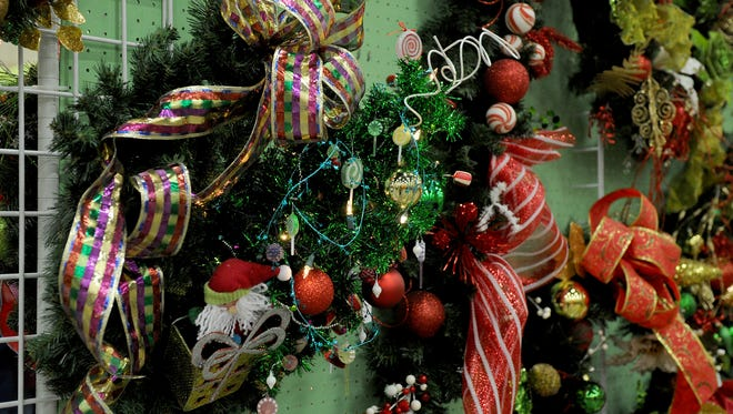 Christmas decorations are displayed during the Sheppard Officers' Spouses' Club Hanger Holiday Saturday, Nov. 11, 2017, in the Ray Clymer Exhibit Hall at the MPEC.