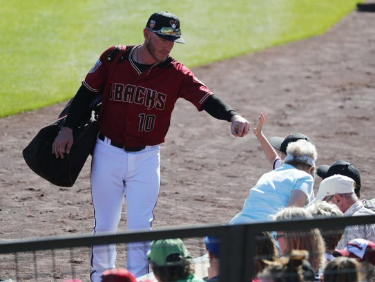 Arizona Diamondbacks catcher Chris Herrmann high-fives