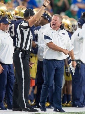 Sep 17, 2016; South Bend, IN, USA; Notre Dame Fighting Irish head coach Brian Kelly argues a penalty call in the first quarter against the Michigan State Spartans at Notre Dame Stadium. Mandatory Credit: Matt Cashore-USA TODAY Sports