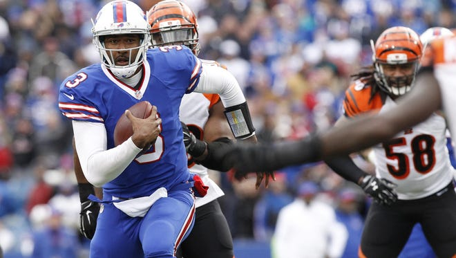 A trip to Buffalo to see the Bills play is among the auction items at November Splendor in Watkins Glen. Buffalo Bills quarterback EJ Manuel (3) runs with the ball during the second half against the Cincinnati Bengals Oct. 18 at Ralph Wilson Stadium.