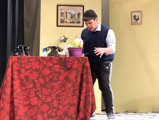 """Jacob Sousley rehearsing his role as Seymour for """"Little"""
