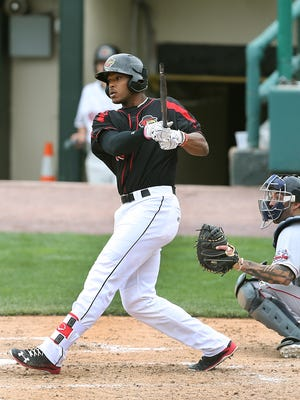 Adam Brett Walker, shown here in an April game, went into play on Tuesday tied for the IL lead in home runs with nine.