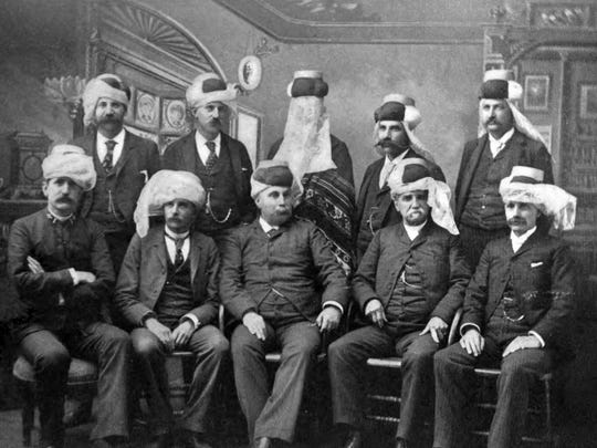 The officers of the Mystic Order of Veiled Prophets of the Enchanted Realm are seen in 1890, including founder Leroy Fairchild, seated at right. The club was founded on fun, fellowship and playing practical jokes on one another.