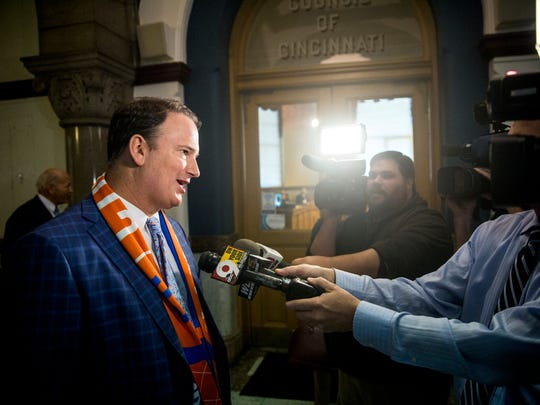 FC Cincinnati general manager Jeff Berding answers questions from local media after City Council passes FC Stadium deal 5-3 to clear the way for MLS bid at City Hall in downtown Cincinnati Wednesday, November 29, 2017.