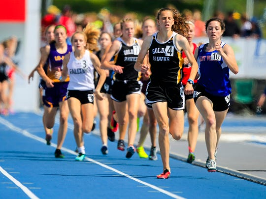 Anna Hostetler leads the girls 2A 800 meter at the