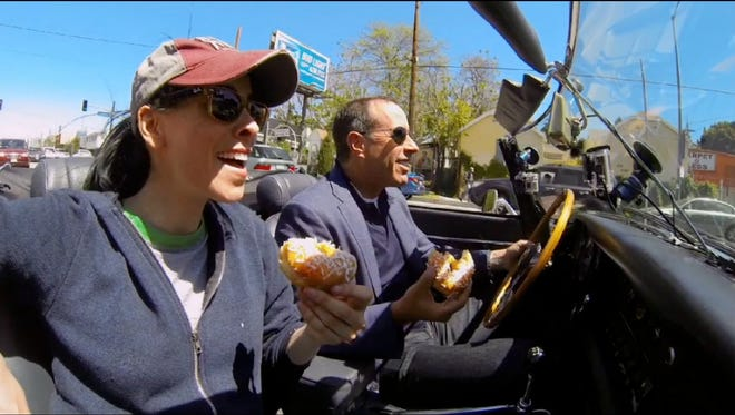 Sarah Silverman, left, and Jerry Seinfeld chat in the 'Donuts' episode of his new web series spinoff, 'Single Shots.'