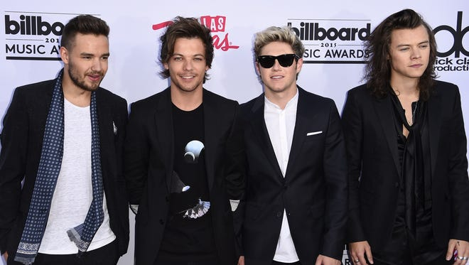 A file picture taken in Las Vegas on May 17, 2015, shows One Direction members (L-R) Liam Payne, Louis Tomlinson, Niall Horan, and Harry Styles.