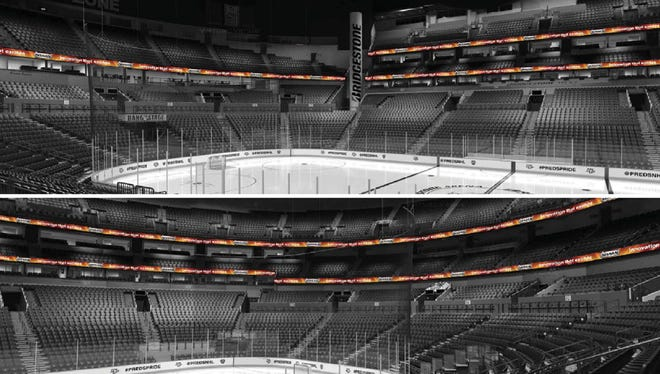 A rendering shows the new LED lighting that will be added to the upper two levels at Bridgestone Arena for the 2018-19 season.
