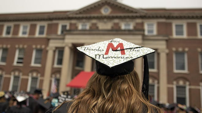 The 161st annual Monmouth College Commencement Exercise was held on the Wallace Hall Plaza on Sunday, May 13, 2018.