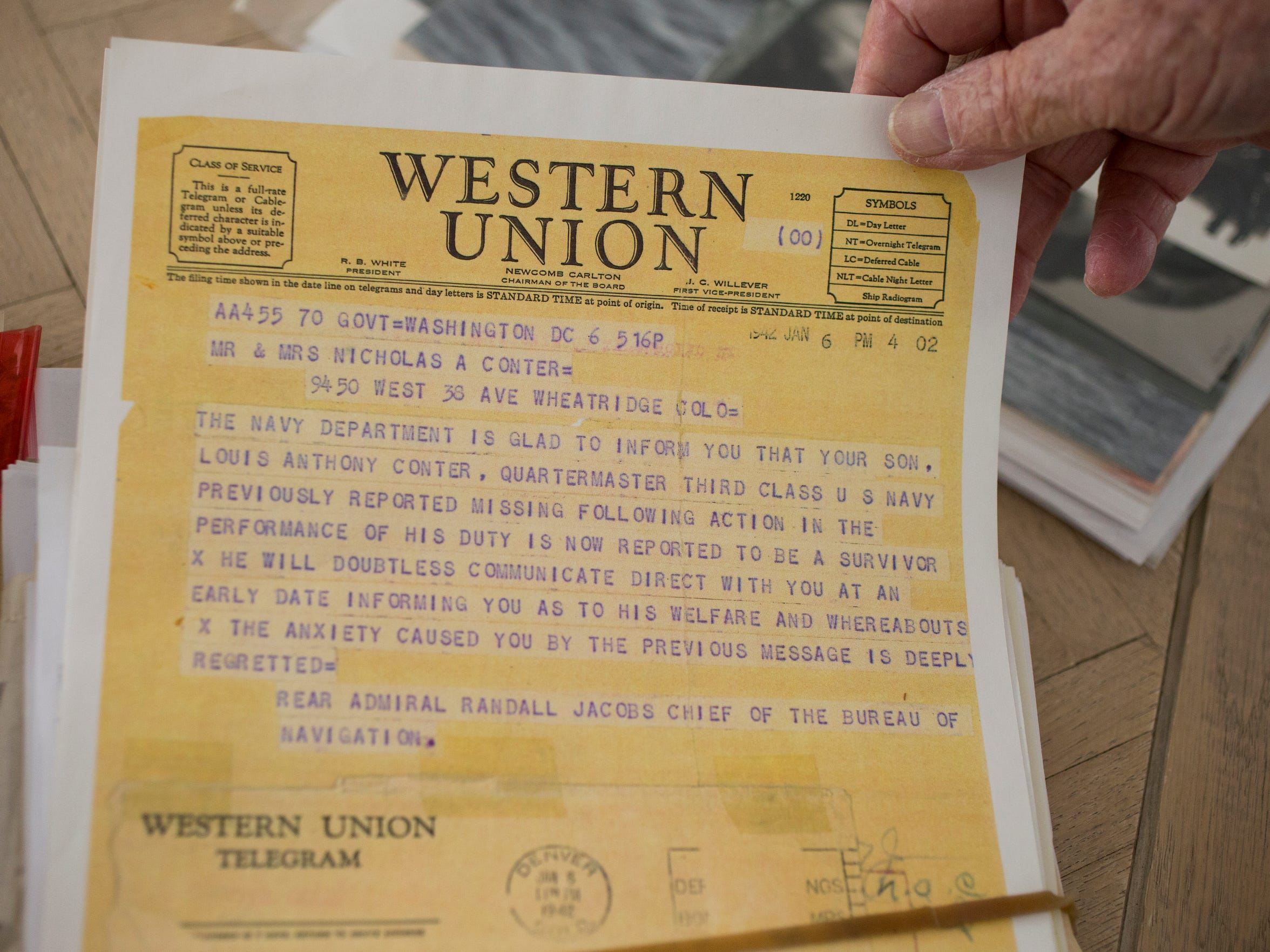 A second telegram to the Conters.