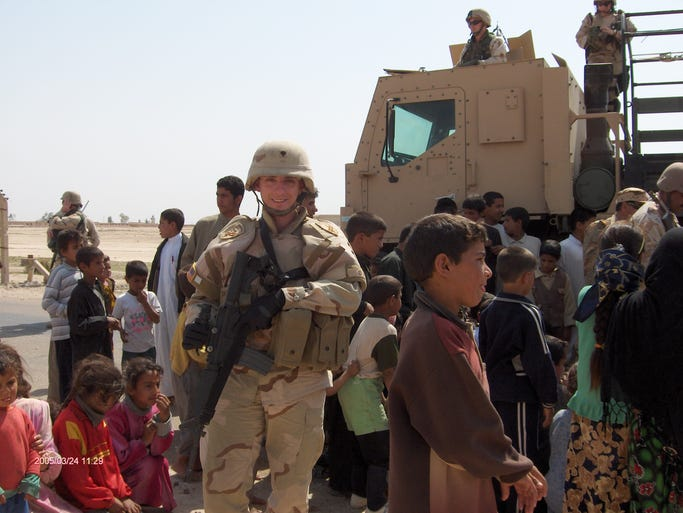 Chris Arnold of Yorktown, shown in this March 24, 2005 photo,during his deployment in Iraq, is now the public affairs director for the Yonkers City Council.