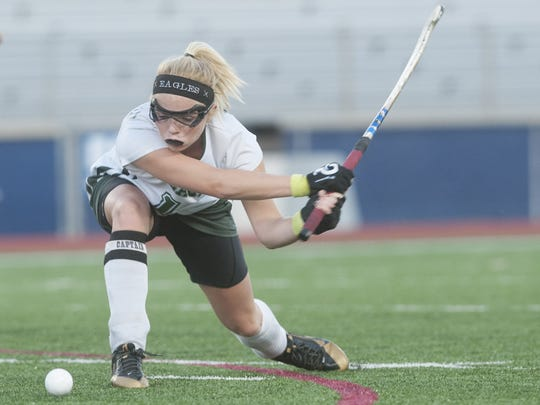 West Deptford's Ciara Girouard shoots the ball during the first half of the field hockey Group 2 state semifinal game between West Deptford and Rumson-Fair Haven, played at Eastern High School in Voorhees.  11.12.14