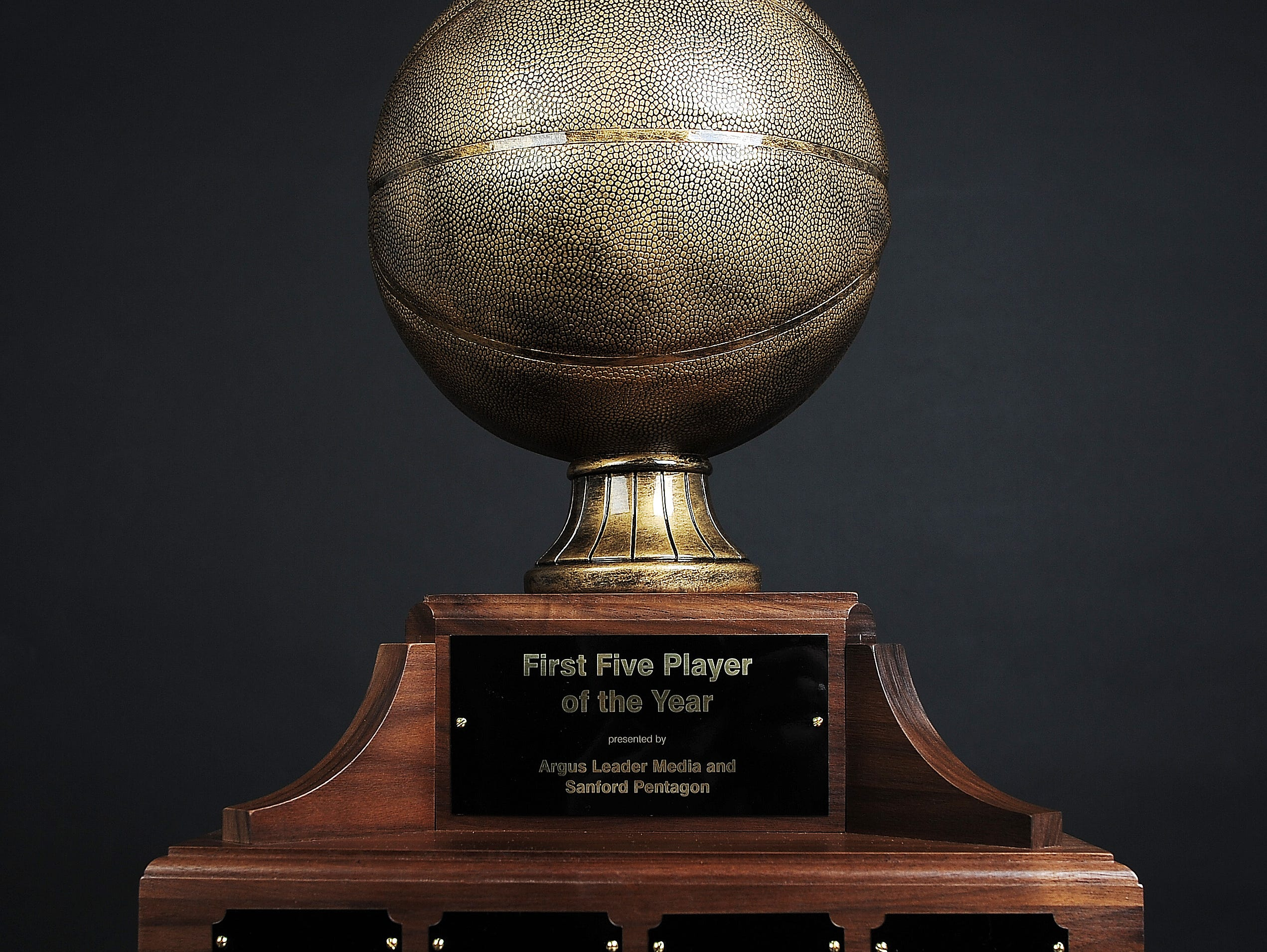The Argus Leader Media & Sanford Pentagon First Five Player of the Year trophy.