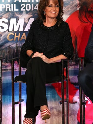 Sarah Palin sported patriotic heels on Jan. 10, 2014 during the Television Critics Association tour at the Langham Hotel in Pasadena.