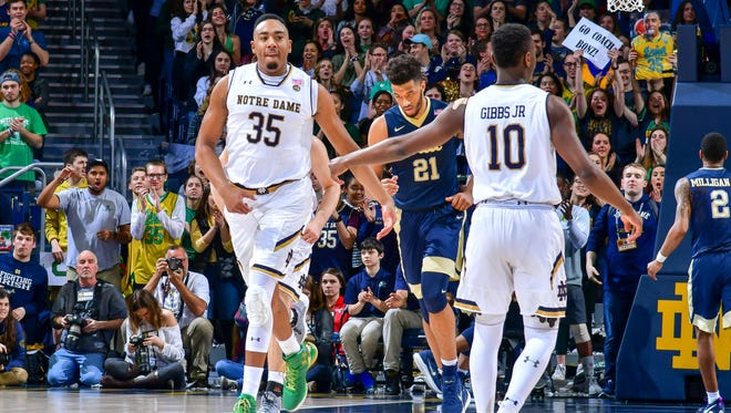 Notre Dame Fighting Irish forward Bonzie Colson (35) reacts after a basket in the first half against the Pittsburgh Panthers at the Purcell Pavilion.