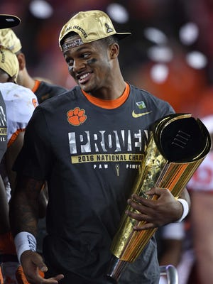 Clemson Tigers quarterback Deshaun Watson (4) reacts after defeating the Alabama Crimson Tide in the 2017 College Football Playoff National Championship Game at Raymond James Stadium.
