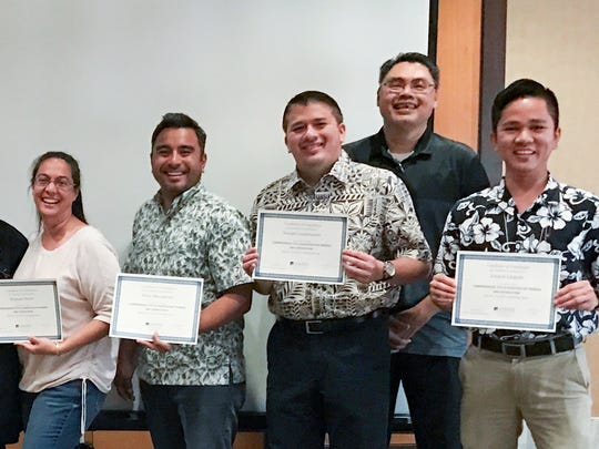 "Several University of Guam employees recently became certified Tittle IX Investigators during the Guam Coalition's ""kNOw MORE to End Sexual Violence,"" Conference held in May at the Westin Resort Guam. Representatives from educational institutions, community organizations, and law enforcement participated in Title IX Investigator training. Pictured, from left: UOG Behavioral Counselor Supervisor Dolores Taijeron, UOG Chief Planning Officer David Okada, UOG Assoc. Dean Dr. Alicia Aguon, Academic Impressions Program Manager of Student Affairs Mickey Fitch, Title IX Trainer Beverly Baligad, J.D., Interim Director of MARC / RFK Library Dr. Monique Storie, Director of Integrated Marketing Communications Jonas Macapinlac, EEO Director and Title IX Coordinator Joseph Gumataotao, Chief Human Resources Officer Larry Gamboa, and UOG student Leo Llegado. Not pictured: Asst. Vice President for Institutional Effectiveness Deborah Leon Guerrero, Asst. Vice President for Academic Excellence Troy McVey, and Assoc. Dean for the College of Liberal Arts and Social Sciences Dr. Sharleen Santos-Bamba."