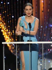 Brie Larson accepts the award for Outstanding Female