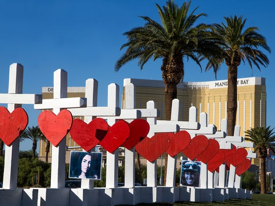 Artist Greg Zanis of Aurora, Illinois, constructed 58 crosses and drove across the country, arriving in Las Vegas Thursday afternoon, October 5, 2017, to install them on Las Vegas Blvd to honor the people killed in the mass shooting.  Zanis said he has created crosses for many of the recent national tragedies, Newtown, San Bernardino and now Las Vegas.